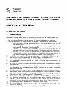 Een voorbeeld van de samenvatting in een Vlaamse Memorie van Toelichting.